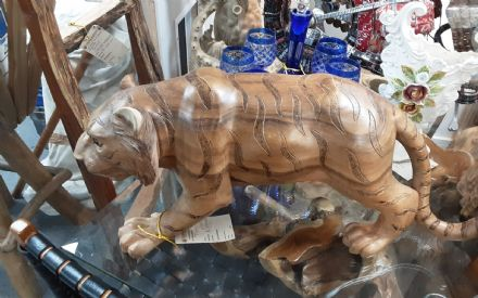 Tiger hand carved in teak